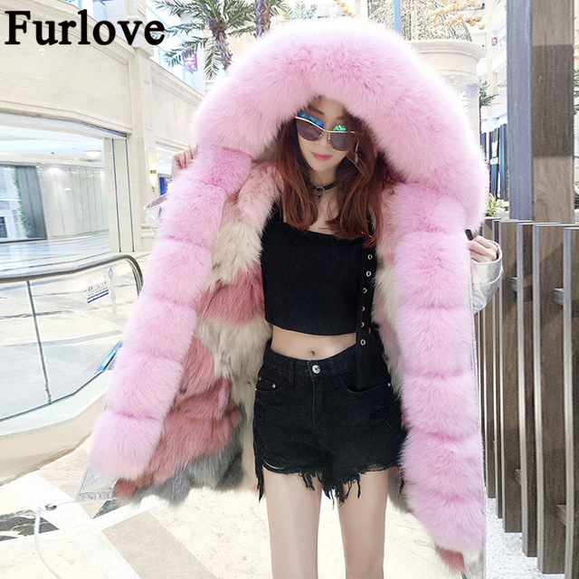 2017 long winter jacket women outwear thick parkas raccoon natural real fur collar coat hooded real warm fox fur liner jackets 2017 winter new clothes to overcome the coat of women in the long reed rabbit hair fur fur coat fox raccoon fur collar