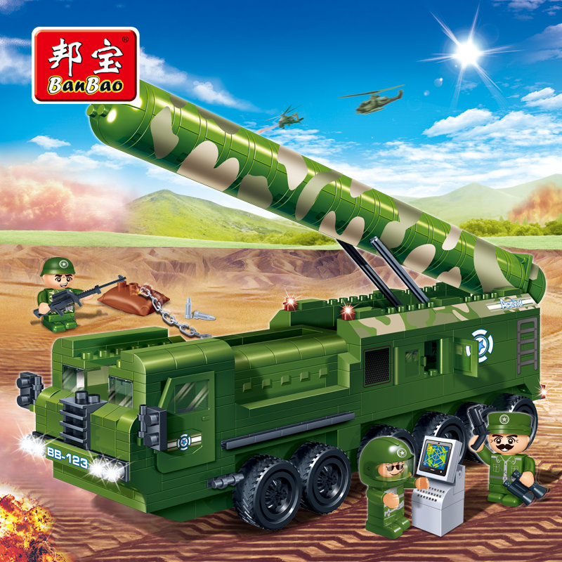 BanBao Military Educational Building Blocks Toys For Children Kids Gifts Army Truck Missile launcher vehicle Sticker banbao kung fu educational building blocks toys for children kids gifts super hero sky of evil temple chinese style