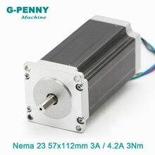 NEMA23 3N 57x112mm nema23 CNC motor Passo A Passo. m motor de passo 3A/4.2A D = 8mm 428Oz-in para 3D impressora CNC fresadora gravura