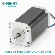 NEMA23 CNC מנוע צעד 57x112mm Nema23 3N. m 3A/4.2A D = 8mm 428Oz in עבור 3D מדפסת CNC לייזר חיתוך חריטת מכונת כרסום