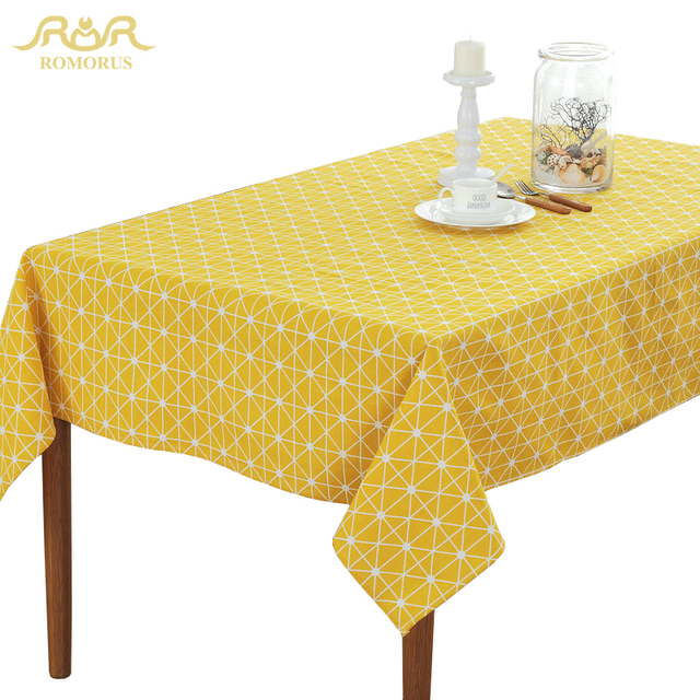 Attirant ROMORUS New Design Table Cloths Waterproof Modern Geometric Tablecloths  Rectangular Yellow Table Cover Hot Sale For