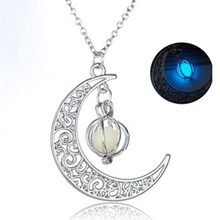 Susenstone Fashion Luxury Women Necklace Glow In The Dark Luminous Necklace Moon&Pumpkin Pendant Silver Plated(China)