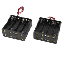 2Pcs Black Plastic Battery Holder Case w Wire for 8 x AA 12V Batteries