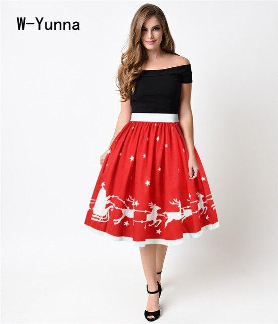 854ca9b507b0 W-Yunna De Noël Rouge Midi Jupes Femmes Genou-Longueur Élégante Jupe  Plissée Taille