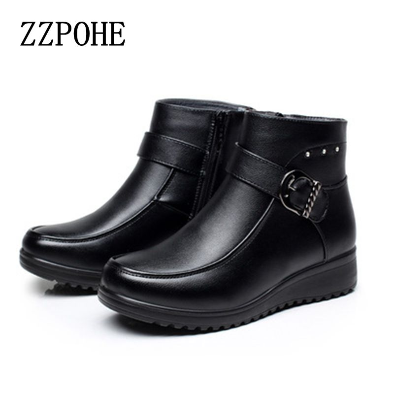 ZZPOHE 2017 Autumn winter new mother cotton shoes fashion plus cashmere warm women boots middle-aged large size flat snow boots 2017 autumn and winter new plus velvet thick women s boots soft bottom comfortable breathable mother shoes wild leather