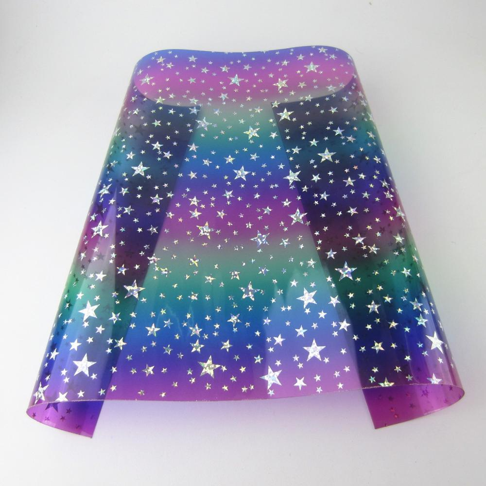 30cmx120cm Rainbow stars TPU PVC transparent clear  Vinyl Fabric for baged project craft BH430