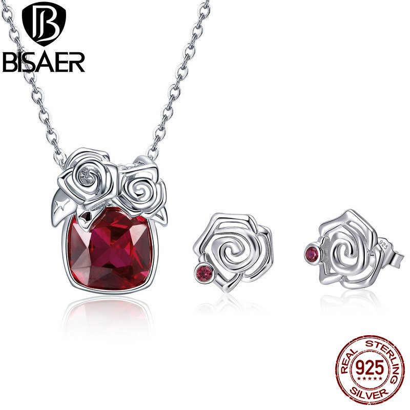 BISAER Real 925 Sterling Silver Jewelry Sets Rose Flower Red CZ Wedding Bridal Jewelry Set Bride Sterling Silver 925 Jewelry браслет с брелоками seendom jewelry 925 pulseiras cz xoxo pbs105
