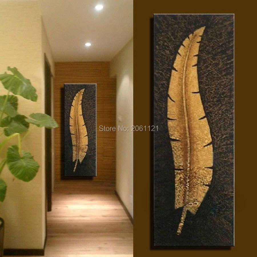 Online Shop handmade vertical wall canvas art large modern living room Aisle corridor decoration oil painting gold leaf picture home decor | Aliexpress ... & Online Shop handmade vertical wall canvas art large modern living ...
