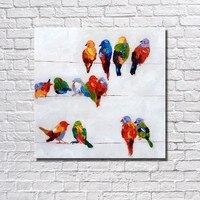 Kleurrijke Acryl Cartoon Schilderijen Paletmes Moderne Kunst Muur Foto Home Decor Handgeschilderde Vogels Olieverfschilderij