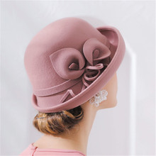LEAYH Brand New Horseshoe Lotus 100% Wool Felt Fedoras Flower Cupola Frilled Hats Women Female Fashion Caps