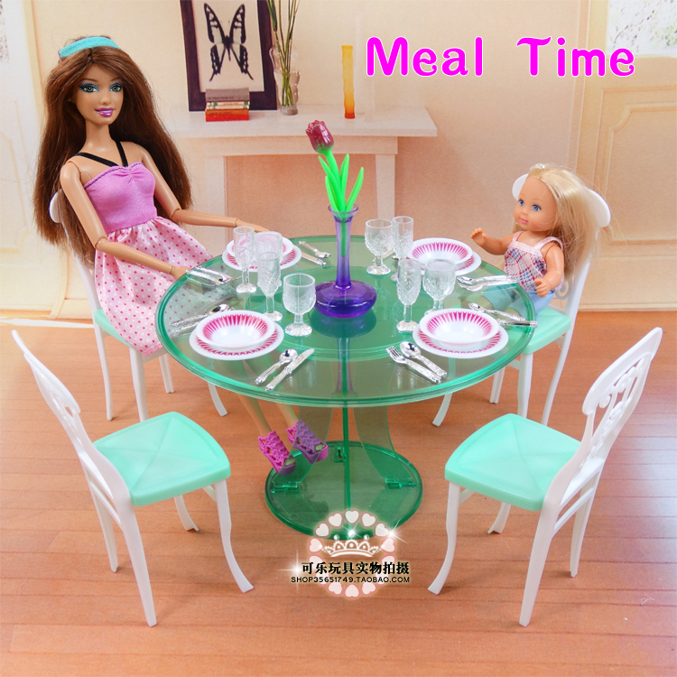 New Furniture For Barbie Doll House Green Kitchen Table Set For Barbie Furniture Dress Up Doll Accessories 1/6  DIY Toy