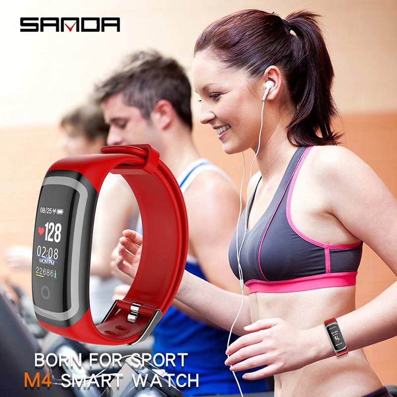SANDA Bluetooth 0 96 quot Smart Watch for IOS Android Men Women Waterproof Fitness Tracker Heart Rate Monitor Smartwatch 2018 in Digital Watches from Watches