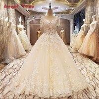 Anioł Drzewo Factory direct suknie ślubne frezowanie suknia balowa lace up powrót O neck krótkie rękawy abito da sposa 2018 real zdjęcia