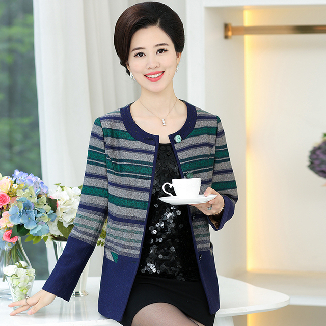 Fashion Woolen Coat Women Autumn Stitching Striped Wool Winter Coats Single Breasted Cardigan O Neck Loose Casaco