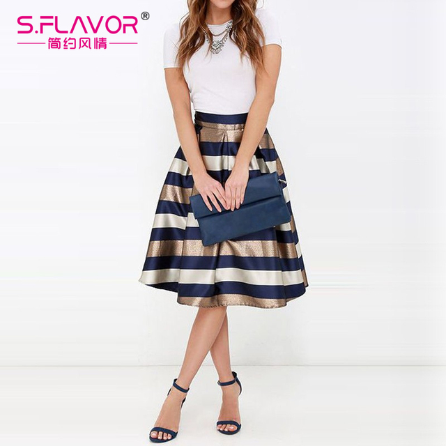 New Arrival Sexy Women's Stretch Natural Waist Pleated Striped Printed Casual Knee-Length Skirt 2017 Fashion elegant skirts