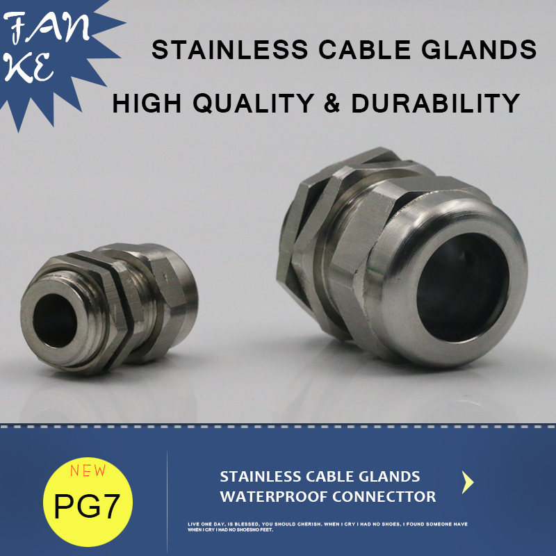 PG7 distributeurs de câbles glande de câble   En acier inoxydable, IP68 poignées de câbles pour câbles métalliques de 3-6.5mm 1 pièce
