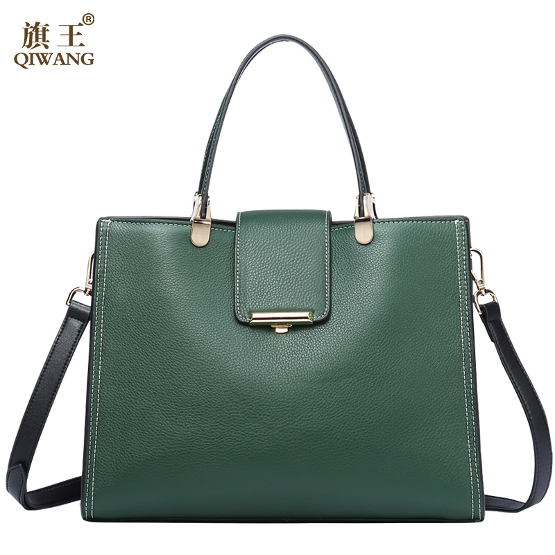 QIWANG Genuine Leather Bag For Women Green Tote Bags Brand Quality Purse And Handbags Large Summer Cow Bags for Women qiwang women bags large gray genuine leather women handbags famous brand striped large tote bag purse for women casual handbag