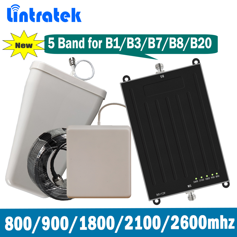 Lintratek 5 Banda Signal Booster B1 B3 B7 B8 B20 E-GSM DCS LTE 800 900 1800 2100 2600 MHz WCMDA repetidor de Sinal de celular Set @ 7.5