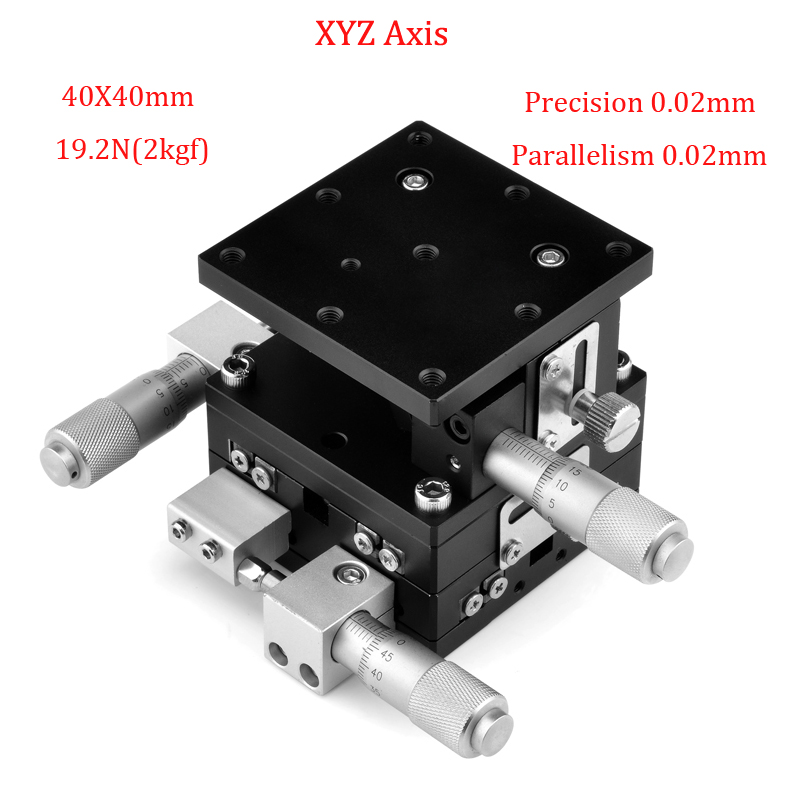 XYZ Axis Trimming Platform 40x40mm Manual Displacement Platform Linear Stage Table Parallelism Precision 0.02mm Sliding Table-in Linear Guides from Home Improvement    1