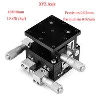 Xyz 축 트리밍 플랫폼 40x40mm 수동 변위 플랫폼 선형 스테이지 테이블 평행도 정밀 0.02mm 슬라이딩 테이블