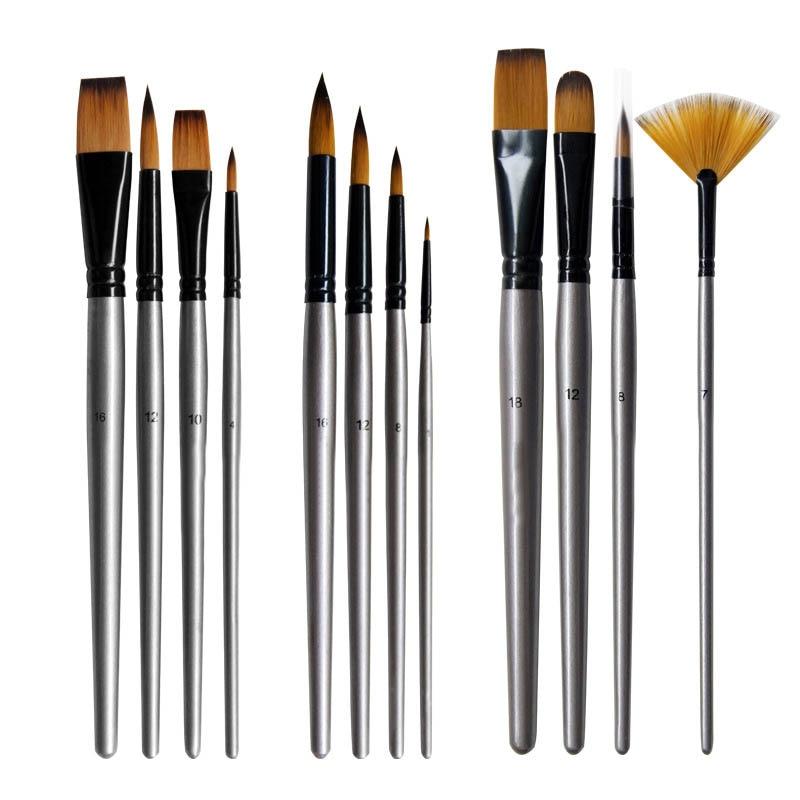 Art Paint Aluminum Tube Brush Watercolor Paint Pen Nylon Hair 4Pcs Wooden Handle Silver Oil Painting Brushes Art Supplies
