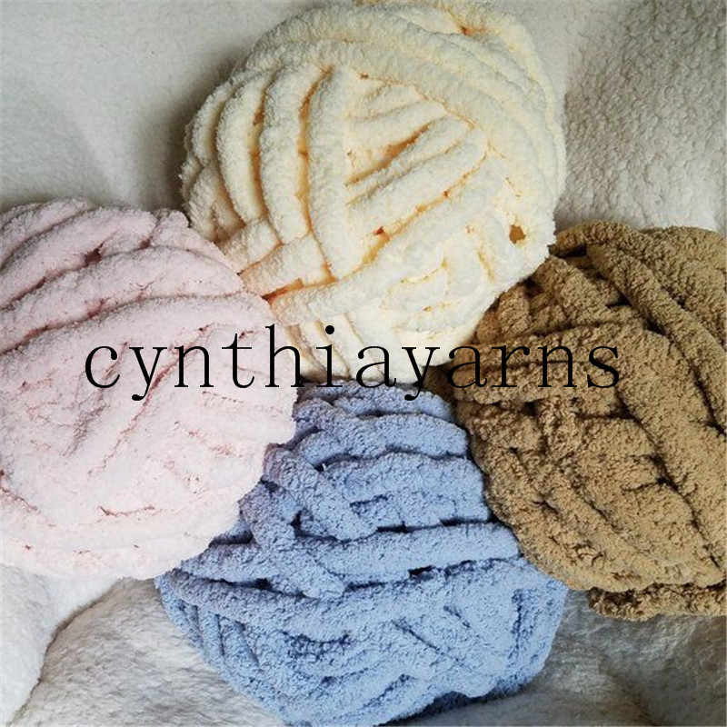 wholesale 4pieces/lot 1000g super chunky chenille yarn giant chenille yarn  for hats and scarves knitting