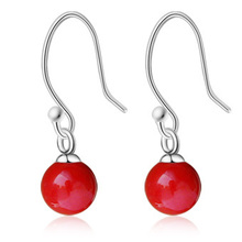 New Fashion Small red bean coral earrings 925 pure silver earrings drop earring red beads earrings 215