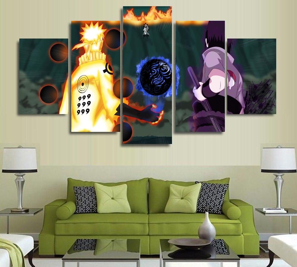 Modern Paintings For Living Room 5 Panel Modern Painting And Prints Anime Naruto Japanese Picture