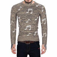 Casual Mens Knitted Sweaters Pullover Sweater For Men Turtleneck Autumn Musical Notes Pattern Male Christmas Winter