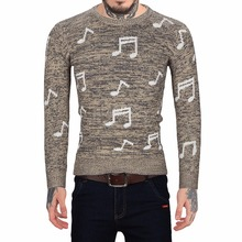 Casual mens knitted sweaters pullover sweater for men turtleneck Autumn Musical Notes Pattern male christmas winter knitwear