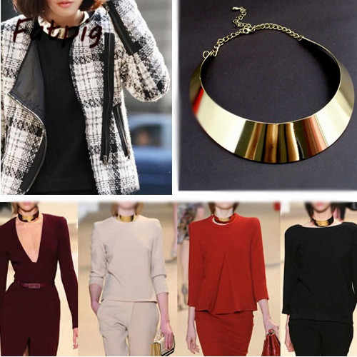 1PCS Women Fashion Jewelry Punk Rock Gold Curved Mirrored Metal Choker Collar Bib Necklace New
