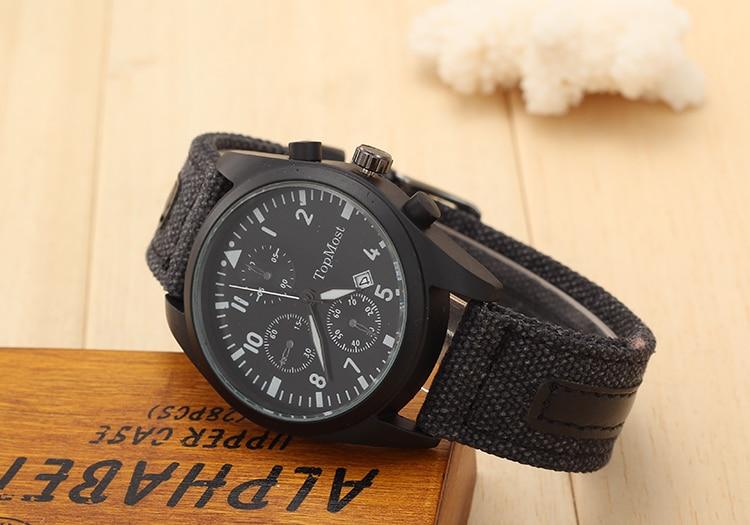 Brand Sport Military Watches Fashion Casual Three false Quartz Watch Cloth belt Analog Men New SOKI