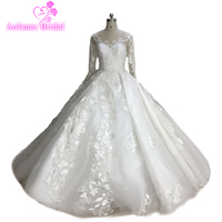 Vintage High end White Nude Sexy Wedding Dresses 2018 Long Sleeveless Lace Appliques Fashion Romance Bridal Gown Real Photos