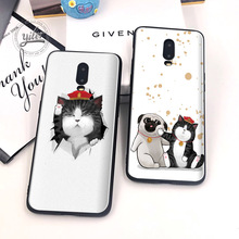 Cute Cat and dog for Caseing Oneplus 6T 7 Phone Cover Black Soft TPU Case Shell