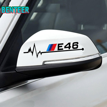 2pcs E30 E34 E36 E39 E46 E60 E90 Car rearview mirror sticker For bmw 1 3 5 series m3 m5 120i 130i 318i 320i 325i 520i 530i 528i image