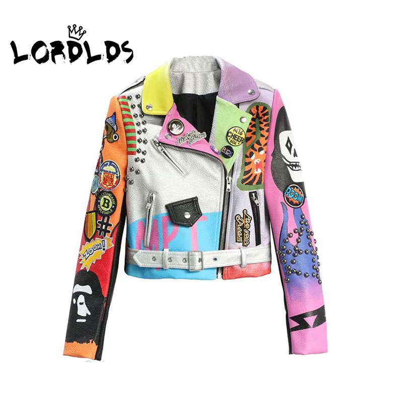 LORDXX Cropped Leather Jackets Women Hip hop Colorful Studded Coat New Spring Ladies Motorcycle Punk Cropped Jacket with belt 1