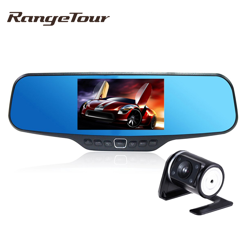 Range Tour Dual Lens Car Rearview DVR Mirror Camera Full HD 1080P 30FPS 4.3 LCD 170 Degree With Rear Camera Video Recorder цена