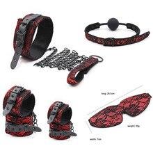5 pcs/set Fetish BDSM Sex Bondage Restraint Kit Games Accessories Couples Eye Mask Neck Collar Ball Mouth Gag Handcuff Sex Toys цены