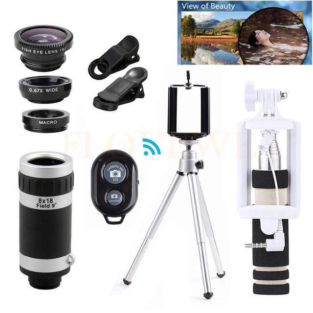12in1 Lenses 8X Zoom Telephoto Lens Microscope Fish eye Macro Wide Angle Lentes Telescope+Tripod Holder +Selfie Stick For Xiaomi