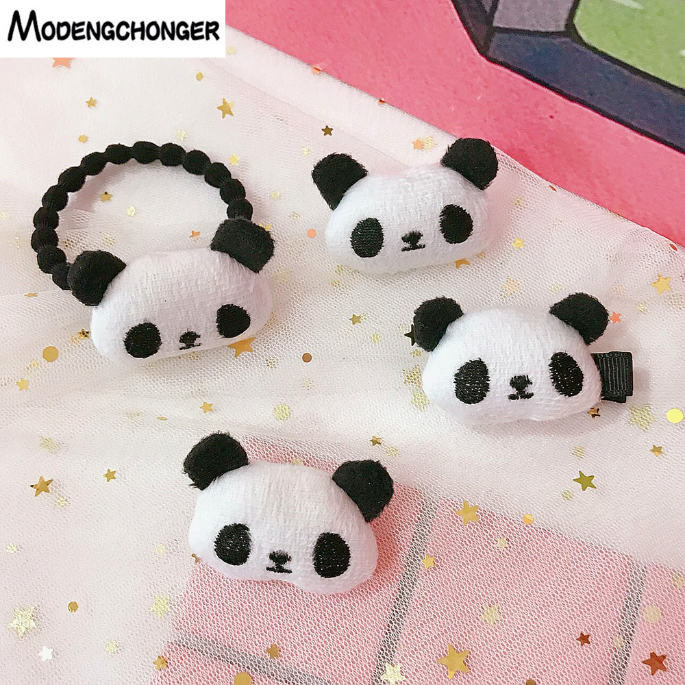 2PCS Cute Girls Soft HairTie Hair Pin Cartoon Panda Love Heart Elastic Band Hairgrip Ponytail Holder Tie Accessories
