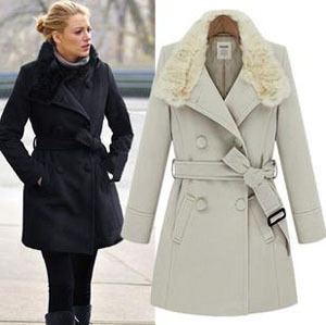 2013 Fashion Celebrity Style Warm Thicken Winter Jacket Long Outerwear High Quality Women's Fur Collar Blend Wool Coat With Belt