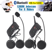 2017 nouveau Fodsports 2 pcs V6 Pro BT Interphone 1200 M Moto Bluetooth Casque Intercom casque intercomunicadores pour 6 Rider