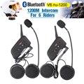 2017 nova Fodsports 2 pcs V6 Pro BT Interphone 1200 M Capacete Da Motocicleta Do Bluetooth Interfone headset intercomunicadores para 6 Cavaleiro
