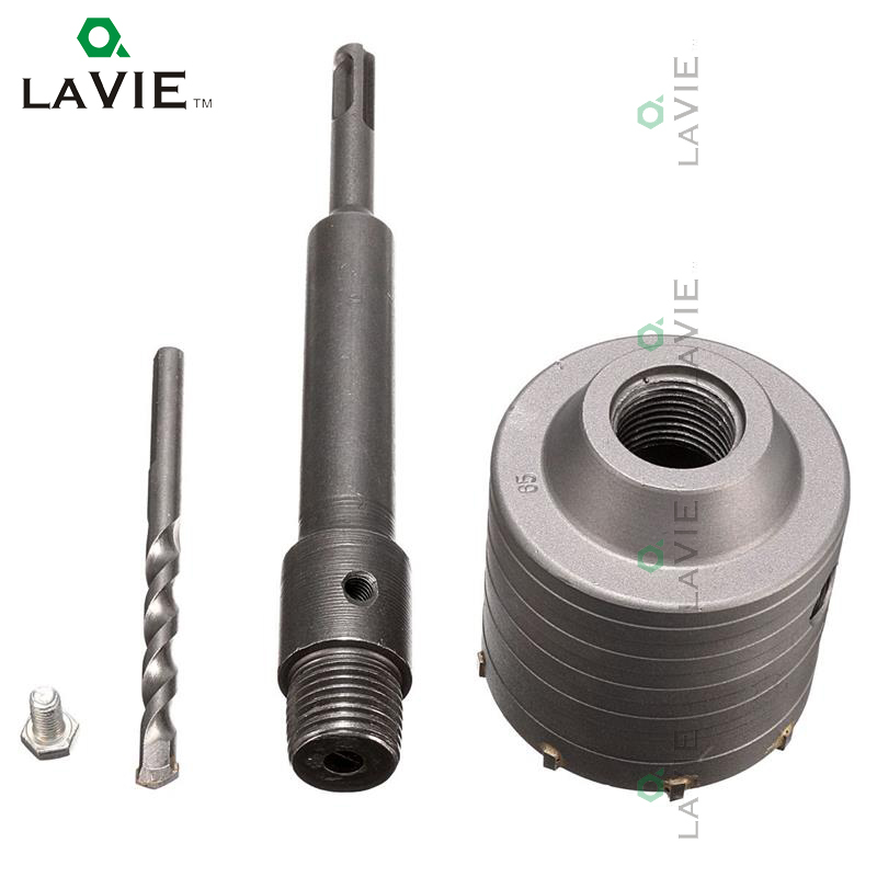 LA VIE 1 set SDS PLUS Concrete Hole Saw Electric Hollow Core Drill Bit 65mm Shank 110mm Cement Stone Wall Air Conditioner Alloy stones bricks concrete cement stone 50mm wall hole saw drill bit 200mm round rod