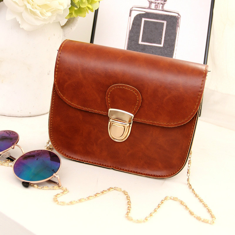 2017 new retro simple cover type latch chains shoulder strap woman mobile phone bag fashion women messenger crossbody bags