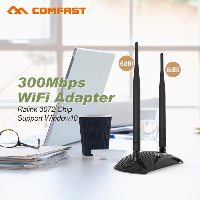 300 Mbps cartão de internet sem fio CF-WU7300 usb wi fi adaptador wi-fi comfast usb 2 * 6dBi antena wi fi wi-fi desktop laptop receptor