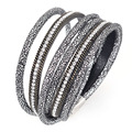 Newest double wrap Bracelets with crystal and chain bracelets double wrap magnetic bracelets for women B1516