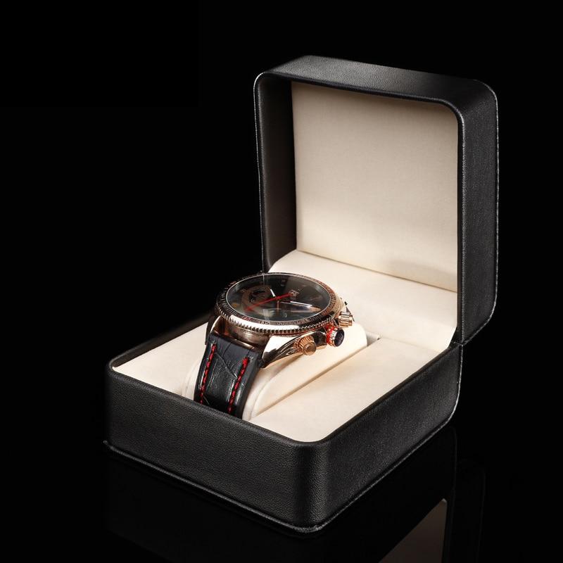 Black Leather Single Watch Box High Quanlity Brand PU Watch Storage Box Fashion Jewelry Gift Box For Men's Watch A062 black out watch box