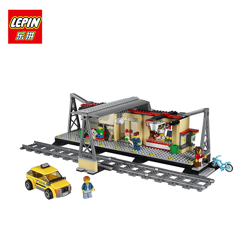 LEPIN 02015 456Pcs City Series Train Station Educational Building Block Brick Toy For Children Gift Compatible with 60050 lepin 05040 y attack starfighter wing building block assembled brick star series war toys compatible with 10134 educational gift