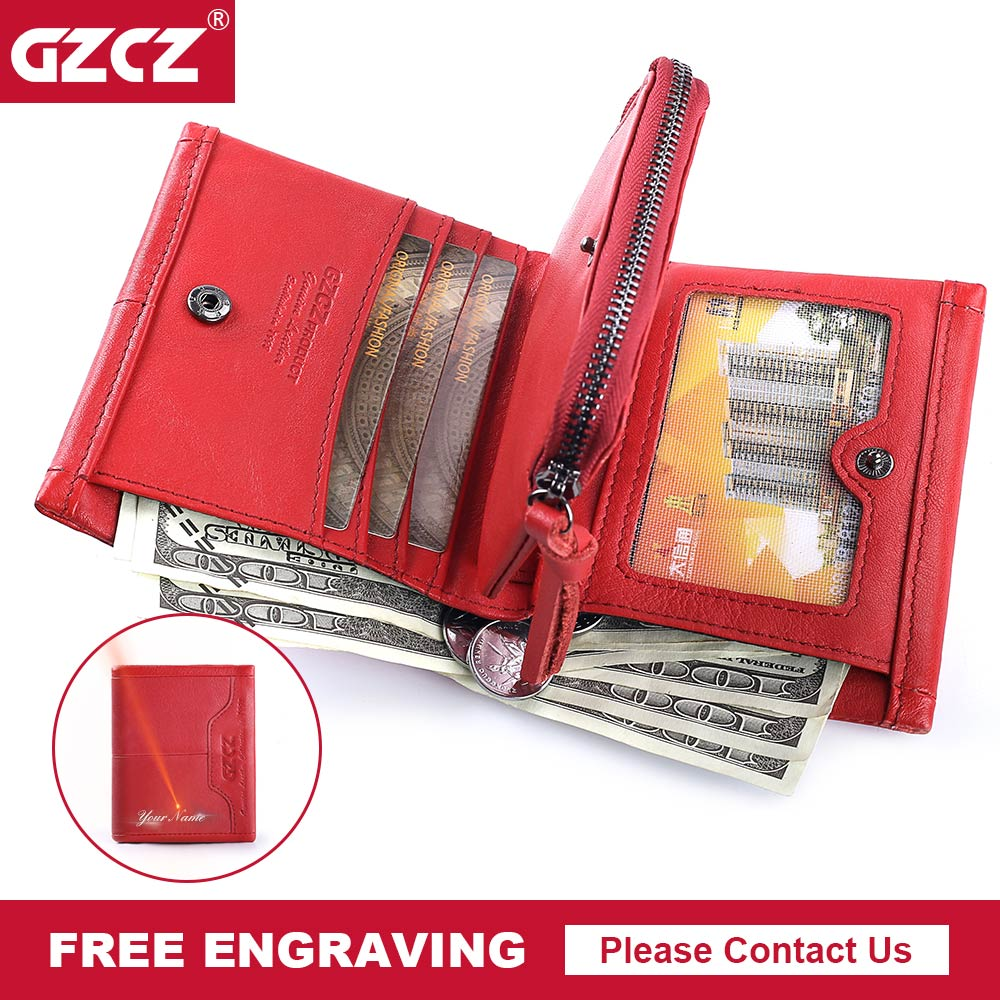 GZCZ Genuine Leather Women Wallets 2018 New Design Fashion Female Purse Trifold Zipper Cash Photo Holder Walet For Woman Red